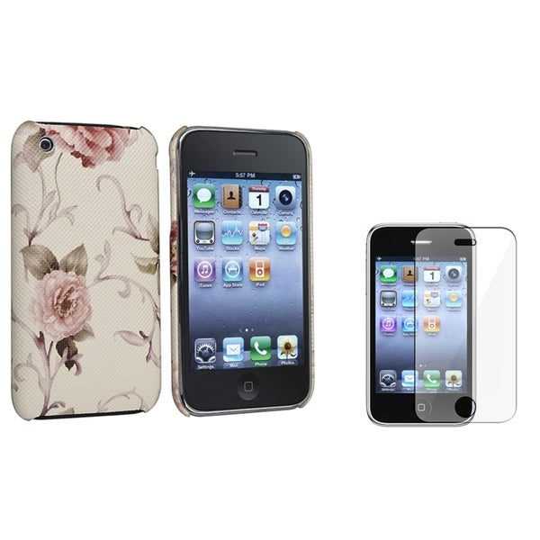 BasAcc White/ Pink Case/ Screen Protector for Apple iPhone 3G/ 3GS
