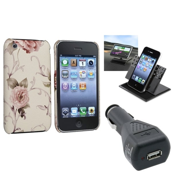 BasAcc White/ Pink Case/ Car Charger/ Holder for Apple® iPhone 3G/ 3GS