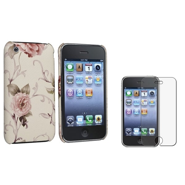 BasAcc White/ Pink Case/ Anti-glare Protector for Apple® iPhone 3GS
