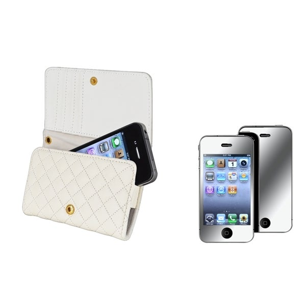 INSTEN White Wallet Phone Case Cover/ Mirror Screen Protector for Apple iPhone 4S
