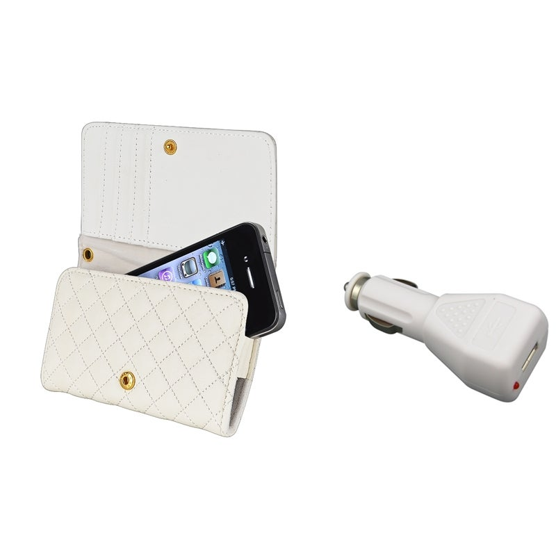 INSTEN White Leather Wallet Phone Case Cover/ Car Charger Bundle for Apple iPhone 4/ 4S