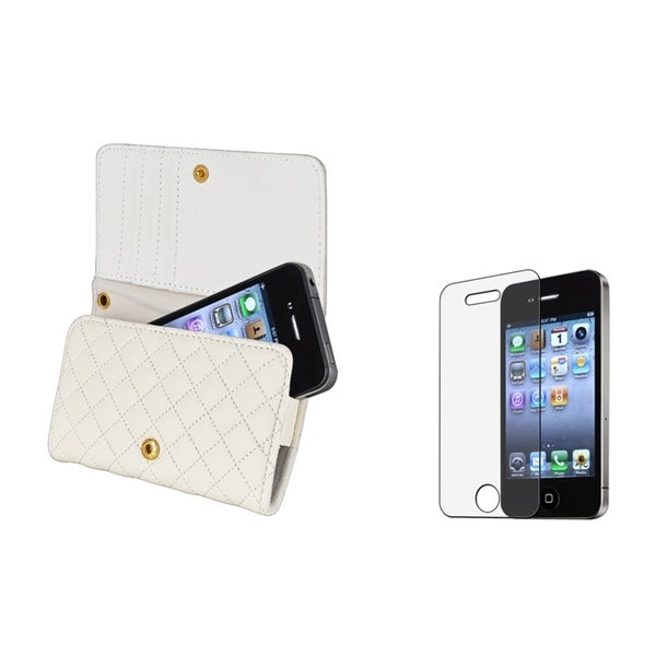 INSTEN Wallet Phone Case Cover/ Anti-glare Screen Protector for Apple iPhone 4S