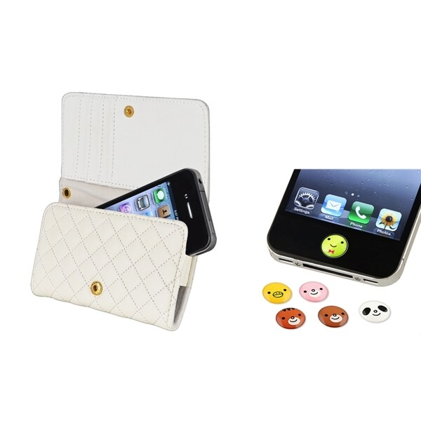 INSTEN Wallet Phone Case Cover/ Animal Home Button Sticker for Apple iPhone 4S