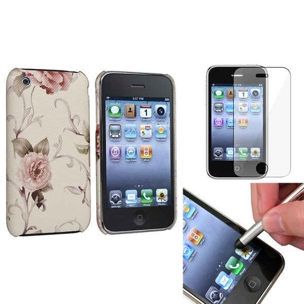 BasAcc Pink Case/ Screen Protector/ Stylus for Apple® iPhone 3G/ 3GS