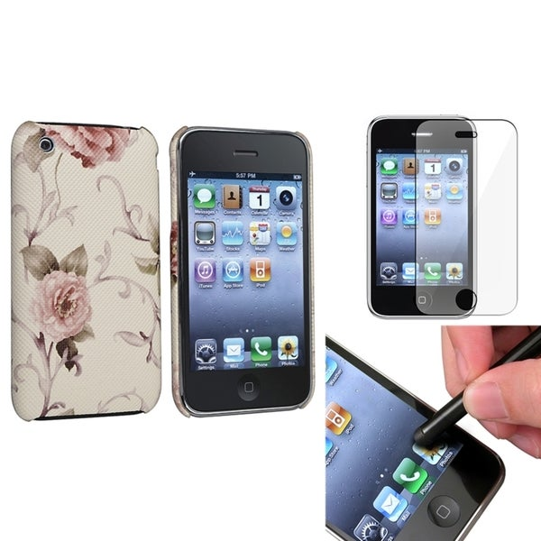 BasAcc Pink Case/ Screen Protector/ Stylus for Apple iPhone 3G/ 3GS