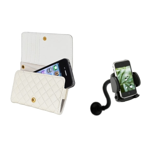 INSTEN Leather Wallet Case Cover/ Windshield Mount for Apple iPhone 4/ 4S