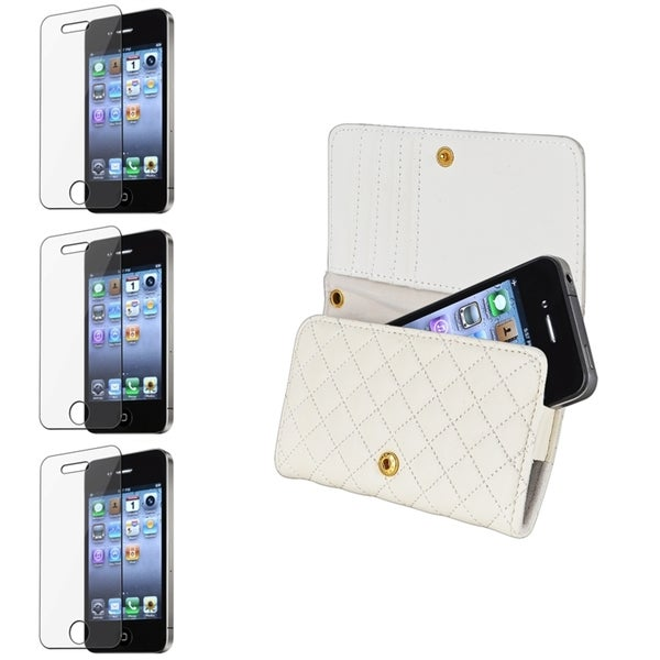 INSTEN White Leather Wallet Phone Case Cover/ Screen Protector for Apple iPhone 4S