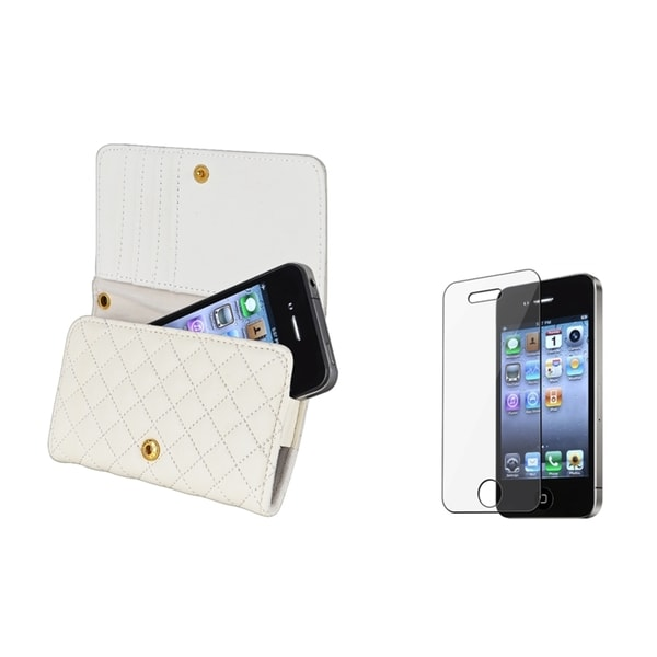 INSTEN Leather Wallet Phone Case Cover/ Screen Protector Triple-Set for Apple iPhone 4S