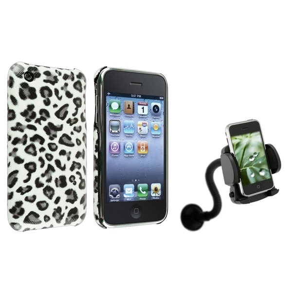 BasAcc Grey Leopard Case/ Windshield Mount for Apple® iPhone 3G/ 3GS