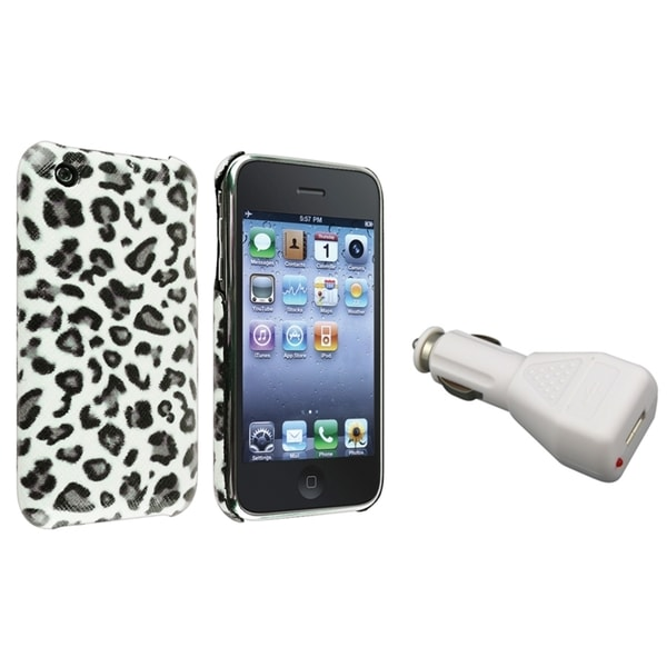BasAcc Grey Leopard Case/ White Car Charger for Apple iPhone 3G/ 3GS