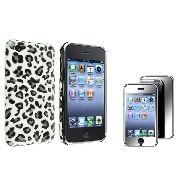 BasAcc Grey Leopard Case/ Mirror Protector for Apple® iPhone 3G/ 3GS