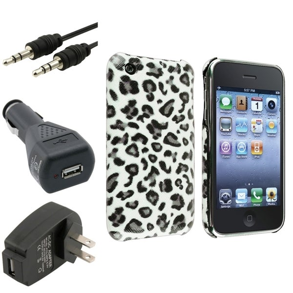 BasAcc Grey Leopard Case/ Chargers/ Cable for Apple® iPhone 3G/ 3GS