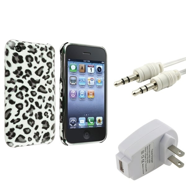 BasAcc Grey Leopard Case/ Charger/ Cable for Apple® iPhone 3G/ 3GS
