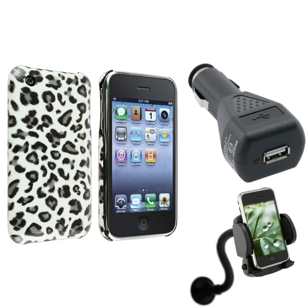 BasAcc Grey Leopard Case/ Car Charger/ Mount for Apple® iPhone 3G/ 3GS