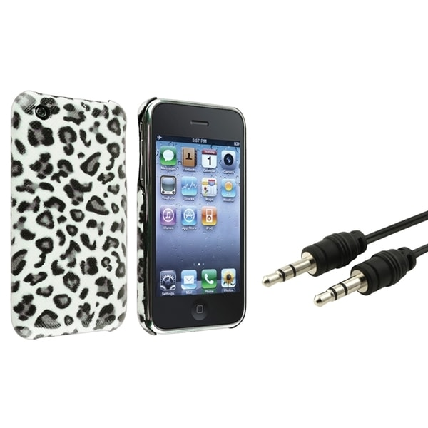 BasAcc Grey Leopard Case/ Black Audio Cable for Apple® iPhone 3G/ 3GS