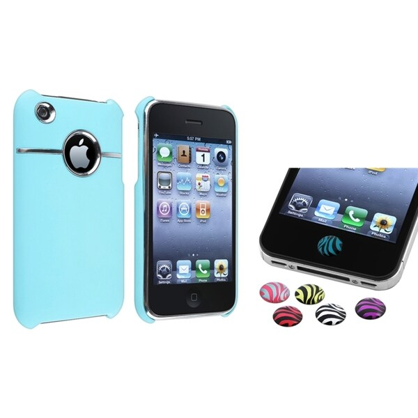 BasAcc Blue Case/ Zebra Home Button Sticker for Apple® iPhone 3G/ 3GS