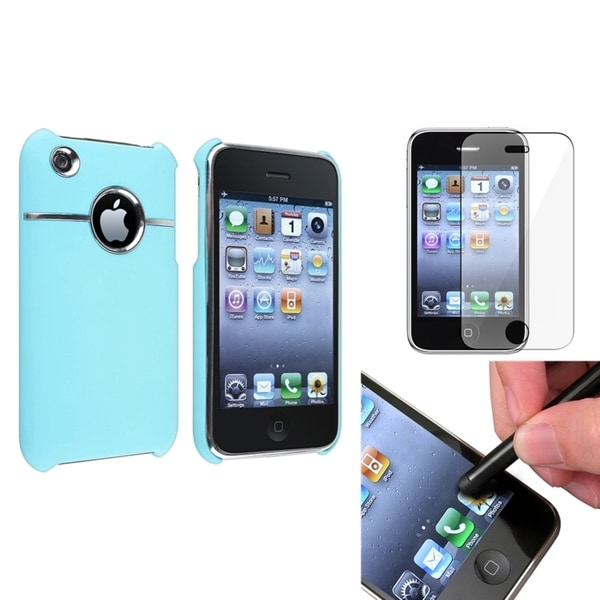 BasAcc Blue Case/ Screen Protector/ Stylus for Apple iPhone 3G/ 3GS