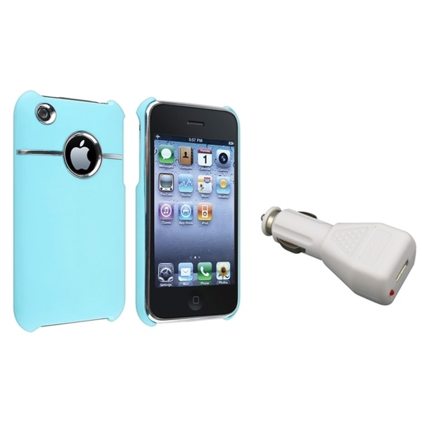BasAcc Baby Blue Case/ White Car Charger for Apple® iPhone 3G/ 3GS