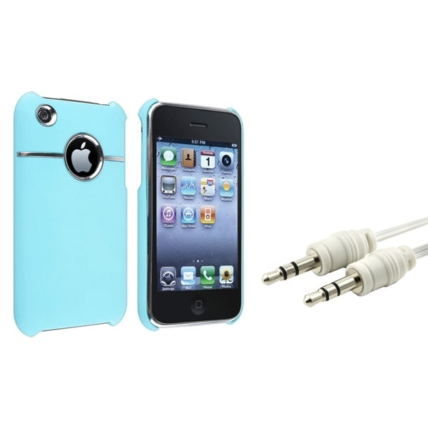 BasAcc Baby Blue Case/ White Audio Cable for Apple® iPhone 3G/ 3GS