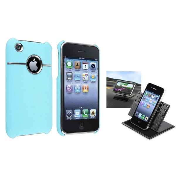 BasAcc Baby Blue Case/ Swivel Phone Holder for Apple® iPhone 3G/ 3GS