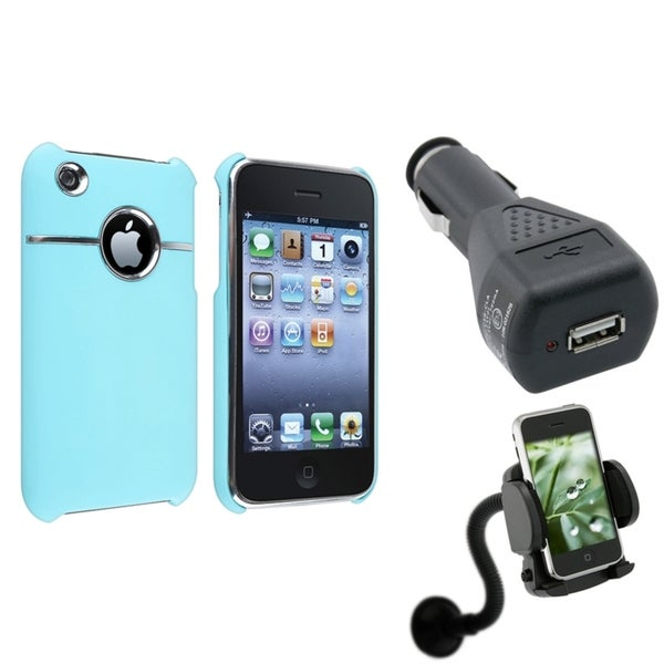 BasAcc Baby Blue Case/ Car Charger/ Mount for Apple® iPhone 3G/ 3GS