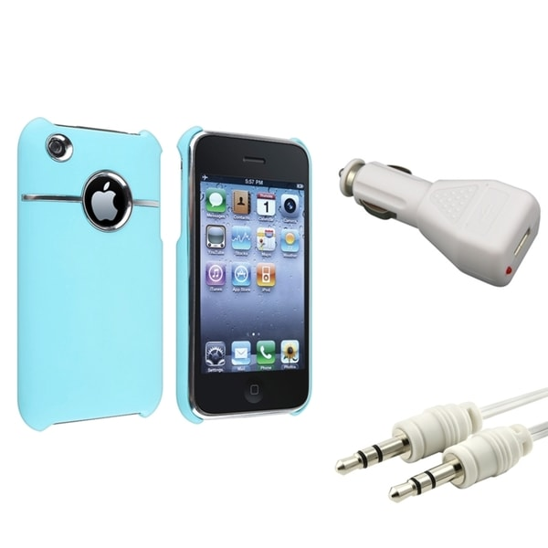 BasAcc Baby Blue Case/ Car Charger/ Cable for Apple® iPhone 3G/ 3GS