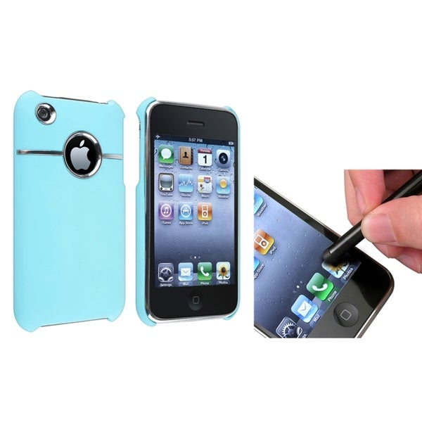 BasAcc Baby Blue Case/ Black Stylus for Apple® iPhone 3G/ 3GS