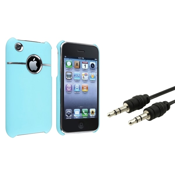 BasAcc Baby Blue Case/ Black Audio Cable for Apple® iPhone 3G/ 3GS