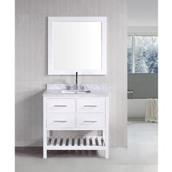 Nice Design Element London Pearl White Solid Wood 36 Inch Transitional Bathroom  Vanity Set