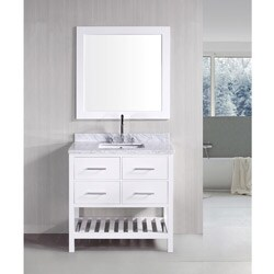 Design Element London Pearl White Solid wood 36-inch Transitional Bathroom Vanity Set