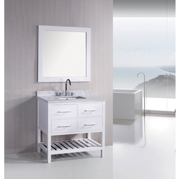 36 Inch White Vanity Part - 16: Design Element London Pearl White Solid Wood 36-inch Transitional Bathroom  Vanity Set - Free Shipping Today - Overstock.com - 14620998