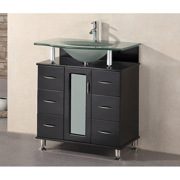 design element hungtinton 30-inch modern bathroom vanity - free