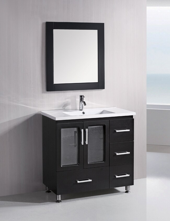 Design Element Solid Wood Stanton 36-Inch Modern Bathroom Vanity Set