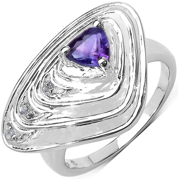 Malaika Sterling Silver 1/2ct TGW Amethyst and White Topaz Enamel Ring