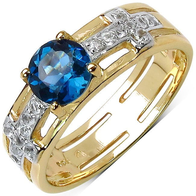 Malaika Goldplated Sterling Silver 1 1/5ct TGW Blue and White Topaz Ring