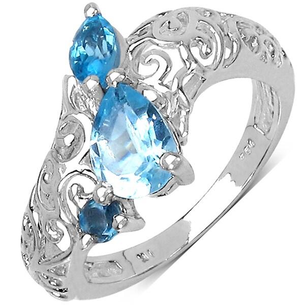 Malaika Sterling Silver Blue Pear Topaz Ring