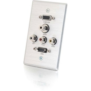 C2G Single Gang HDMI, HD15 VGA, RCA Audio/Video, and 3.5mm Wall Plate