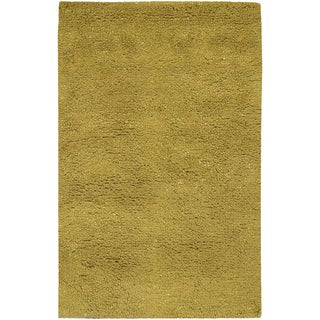 Hand-woven Badger Lime New Zealand Wool Plush Shag Rug (8' x 10'6)