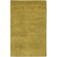 Hand-woven Badger Lime New Zealand Wool Plush Shag Area Rug - 8' x 10'6
