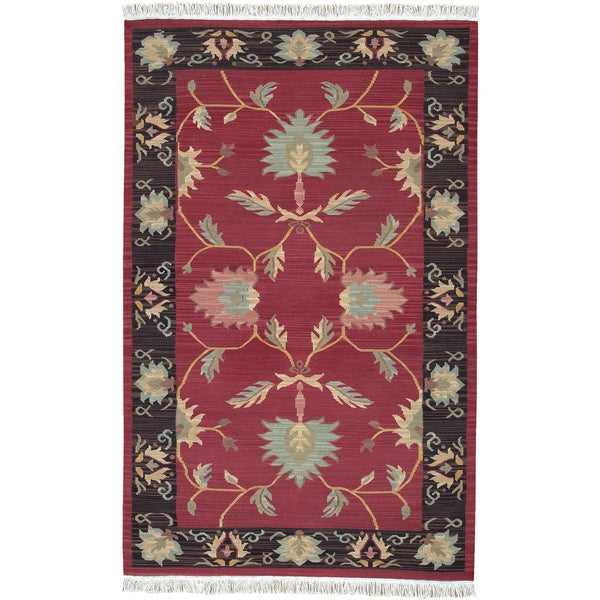 Hand-woven Ashurst Burgundy New Zealand Wool Rug (5' x 8')