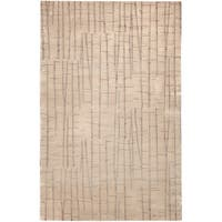 Hand-knotted Bunch Tan Abstract Design Wool Area Rug - 4' x 6'
