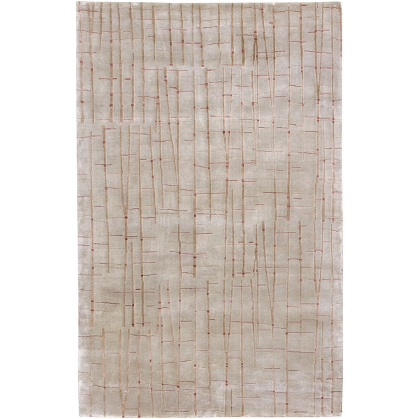 Hand-knotted Chvelelon Spanish Moss Abstract Design Wool Rug (9' x 13')