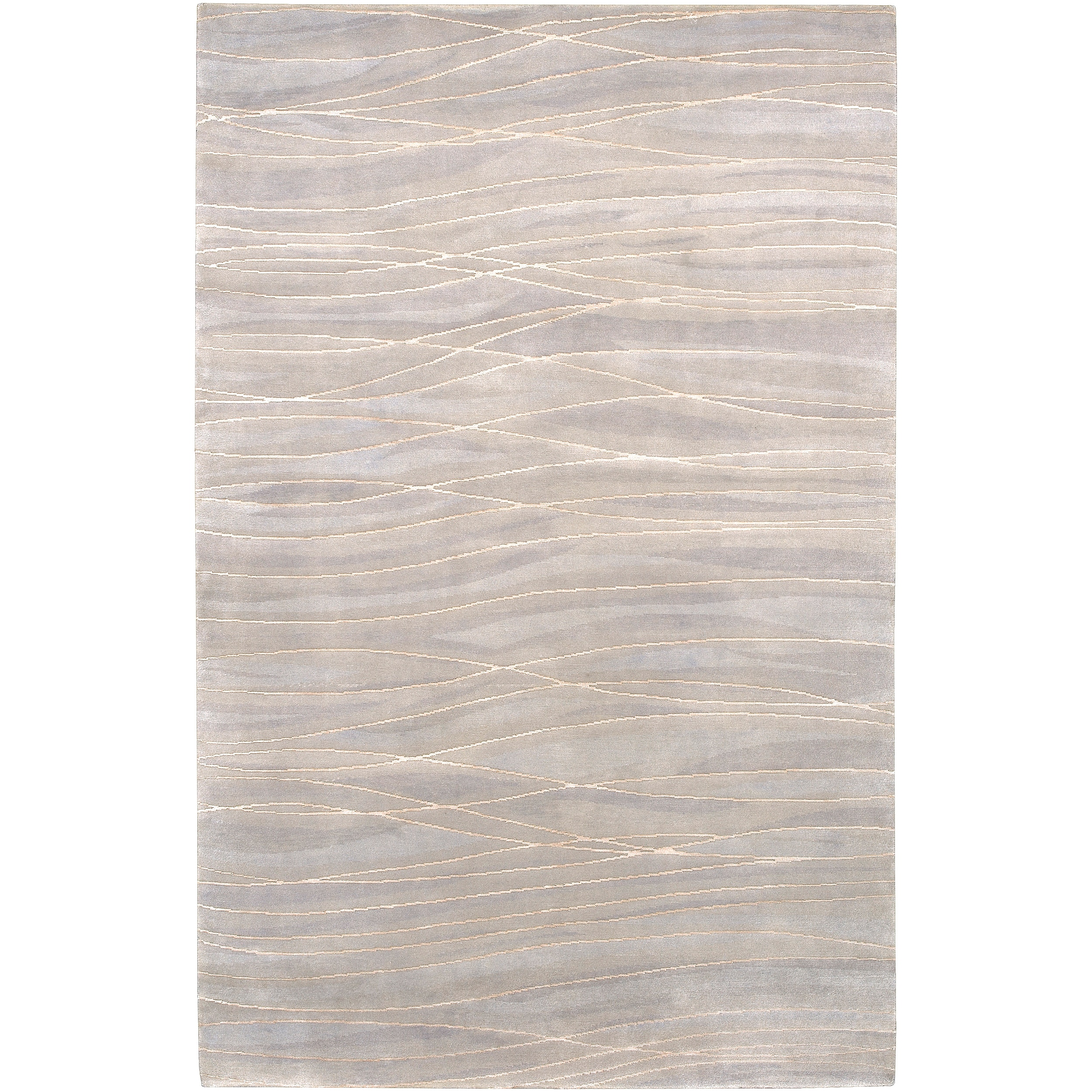 Hand-knotted Cluffranch Beige Abstract Design Wool Rug (8' x 11')