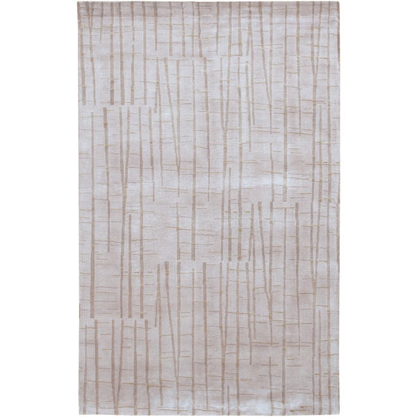 Hand-knotted Coconino Beige Abstract Design Wool Area Rug - 5' x 8'