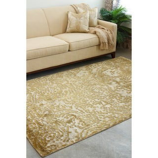 Hand-knotted Cibola Tan Abstract Design Wool Rug (2 '6 x 10')