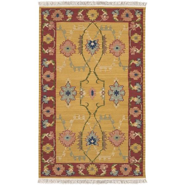 Hand-woven Becker Gold New Zealand Wool Rug (8' x 11')