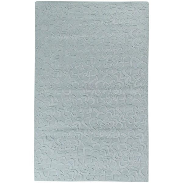 Candice Olson Loomed Blackcanyon Light Blue Floral Plush Wool Rug (5' x 8')