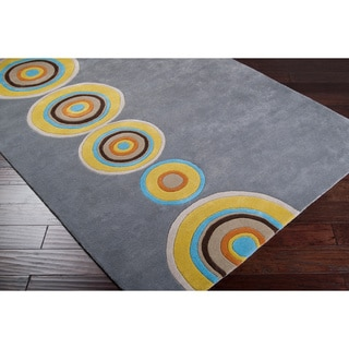 Hand tufted Logan Grey Geometric Circles Wool Rug (5' x 8')