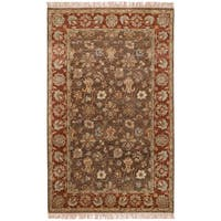 Hand-knotted Redland Brown Hand-spun New Zealand Wool Area Rug - 5' x 8'