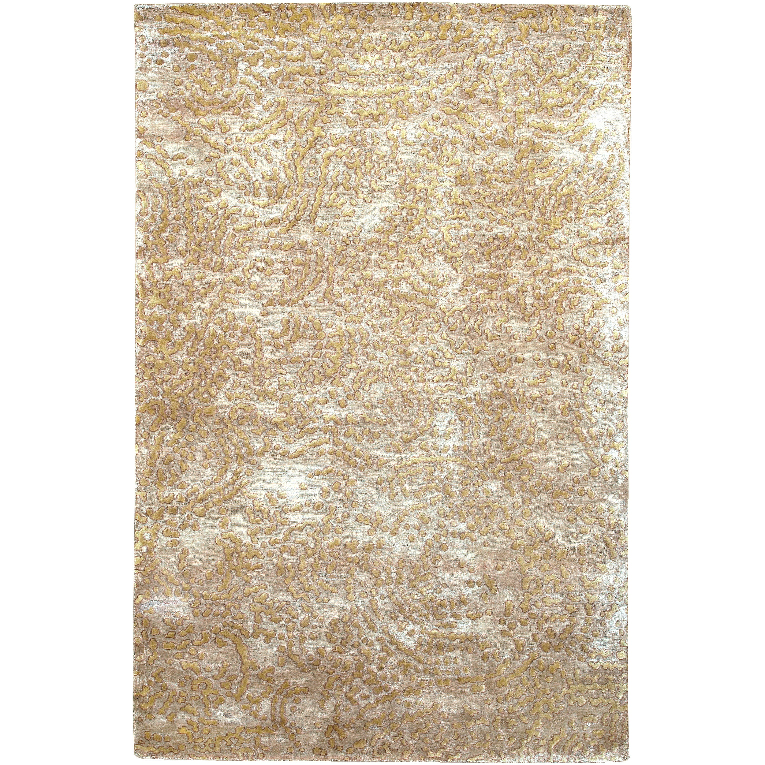 Hand-knotted Conchoo Tan Abstract Design Wool Rug (4' x 6')